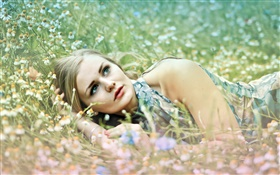 Girl lying in the grass, wildflowers HD wallpaper