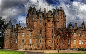 Glamis Castle, Scotland, clouds, dusk