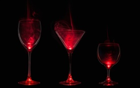 Glass cups, smoke, red light, darkness HD wallpaper