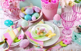 Happy Easter, decoration, colorful eggs, cups, flowers, spring HD wallpaper