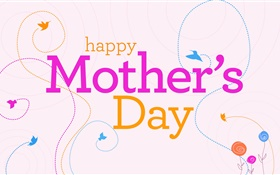 Happy Mother's Day, vector pictures, flowers, birds HD wallpaper