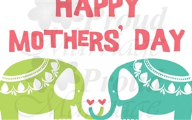 Happy Mother's Day, wishes, elephant, art HD wallpaper