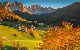 Italy, Dolomites, mountains, forest, trees, houses, sunset, autumn HD wallpaper
