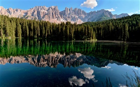 Lake, water reflection, mountains, forest