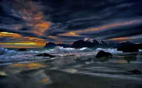 Lofoten Islands, Norway, shore, coast, sea, stones, evening, clouds HD wallpaper
