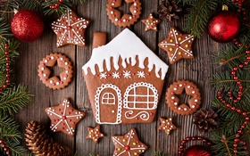Merry Christmas, cookies, dessert, New Year HD wallpaper