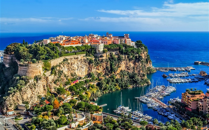 Monaco, Monte Carlo, city, rocks, sea, coast, houses, boats Wallpapers Pictures Photos Images
