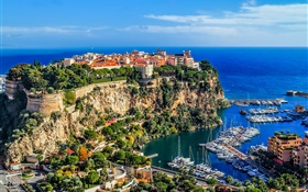 Monaco, Monte Carlo, city, rocks, sea, coast, houses, boats HD wallpaper
