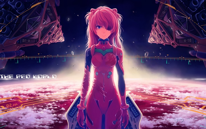 Neon Genesis Evangelion, asuka langley, red dress anime girl Wallpapers Pictures Photos Images