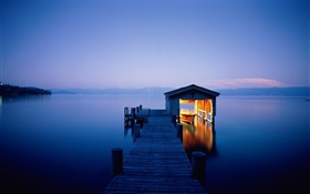 Night, lake, dock, house, boat, lights
