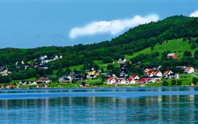 Norway, bay, houses, trees, mountains, blue sky, clouds HD wallpaper