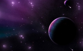 Planet, stars, comet, universe HD wallpaper