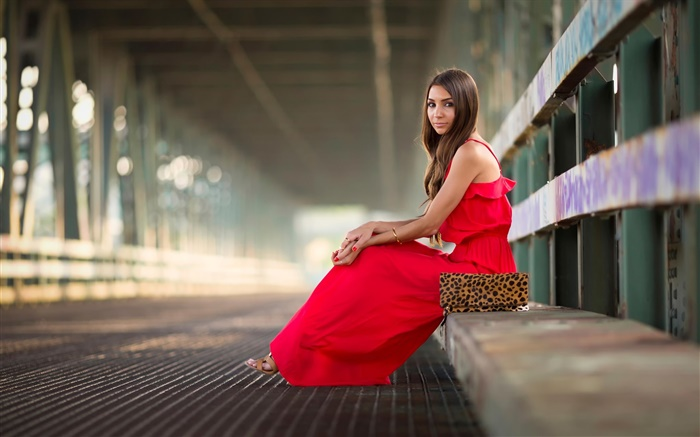 Red dress girl, sitting, fashion, bridge Wallpapers Pictures Photos Images