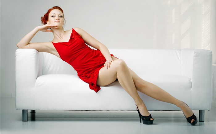 Red dress sexy girl, legs, sofa Wallpapers Pictures Photos Images