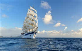Sailboat, boat, blue sea, sky, clouds HD wallpaper