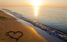 Sand beach, sea, sunset, love heart shaped HD wallpaper