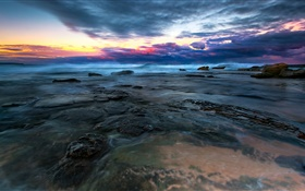 Sea, water, stones, clouds, sunset HD wallpaper