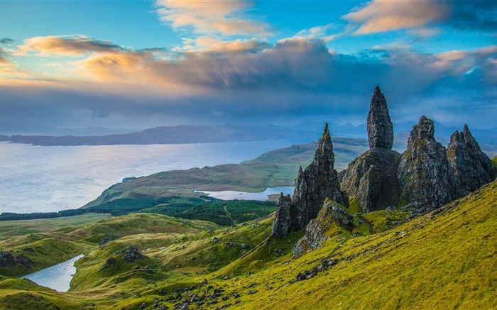 Skye, Scotland, rocks, valley, lake, clouds, dusk Wallpapers Pictures Photos Images