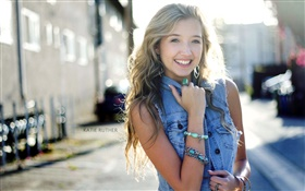 Smile blonde girl, blue jeans dress HD wallpaper