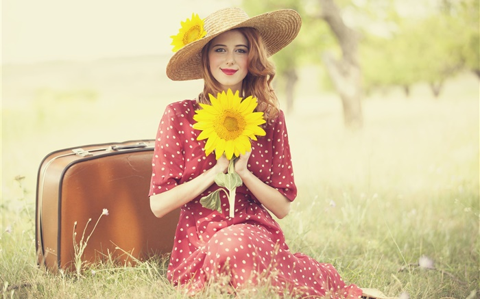Smile blonde girl, posture, holding a sunflower, smile Wallpapers Pictures Photos Images