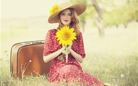 Smile blonde girl, posture, holding a sunflower, smile HD wallpaper