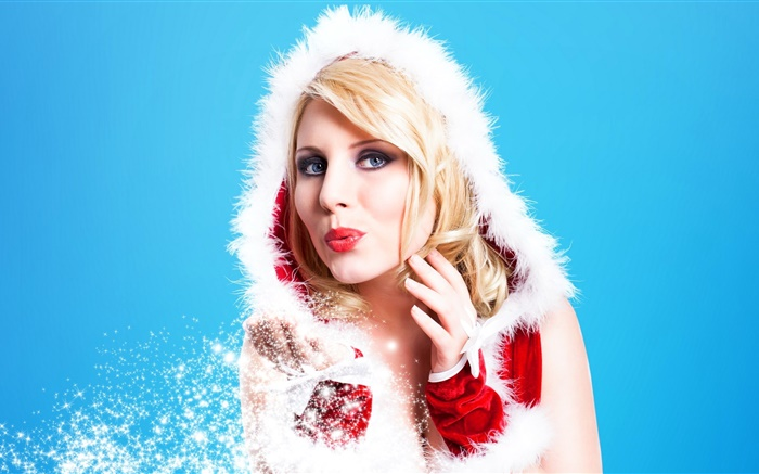 Snowflakes, blonde girl, face, lips, blue background Wallpapers Pictures Photos Images