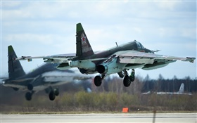 Su-25 subsonic fighter take off HD wallpaper
