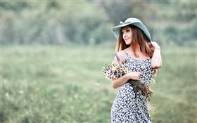 Summer girl, hat, flowers HD wallpaper