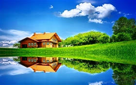 Summer, lake, house, trees, grass, water reflection