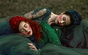 Two girls sleep, retro style HD wallpaper