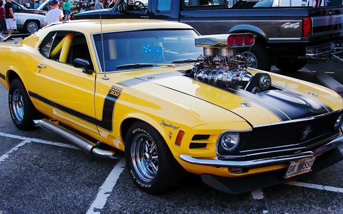 1970 Ford Mustang muscle car, yellow color Wallpapers Pictures Photos Images