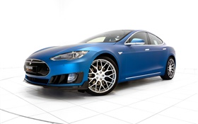 2015 Brabus Tesla Model S blue electric car HD wallpaper