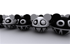 3D cartoon cats, white and black style HD wallpaper