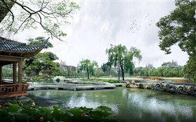 3D design, park, lake, pavilion, trees, bridge HD wallpaper