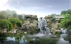 3D design, rocks, waterfalls HD wallpaper