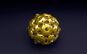 3D gold ball, black background HD wallpaper