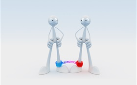 3D guys locked together HD wallpaper