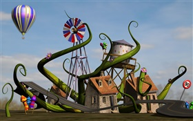 3D home, house, windmill, road, balloon HD wallpaper