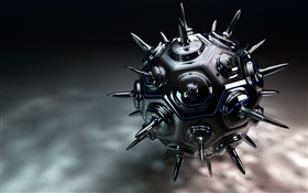 3D metal thorn ball HD wallpaper