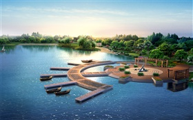 3D park design, render, pier, boats, trees, lake HD wallpaper