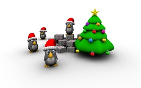 3D pictures, Christmas tree, penguin, gift box HD wallpaper