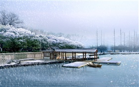 3D render scenery, dock, winter, snow, trees, river HD wallpaper