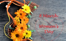 8 March, Women's Day, gerbera flowers, love hearts HD wallpaper