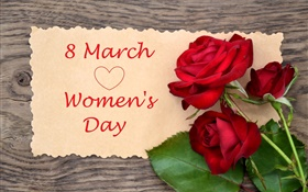 8 March, Women's Day, red rose flowers
