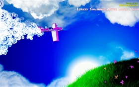 Aircraft, clouds, grass, flowers, sun, creative design HD wallpaper