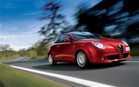 Alfa Romeo red car speed HD wallpaper
