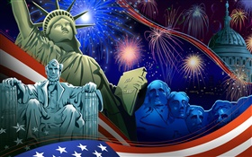 American Independence Day, the theme of art pictures, vector HD wallpaper