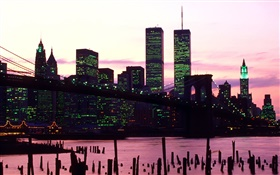 American Twin Towers, night, lights HD wallpaper