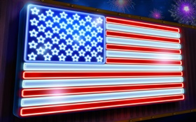 American flag, stars and stripes, neon HD wallpaper