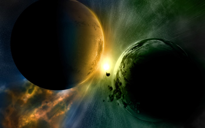 An imminent collision of two planets, light Wallpapers Pictures Photos Images